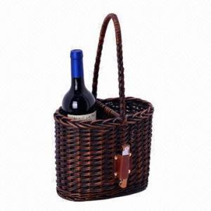 Quality Wicker Wine Basket for 2 Bottles for sale