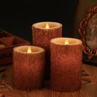 Buy cheap Set of 3 Bark Simulation Pillar LED Candles with 10-Key Remote and Cycling 24 from wholesalers