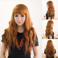 Buy cheap Long red curly style synthetic female wigs for sale from wholesalers