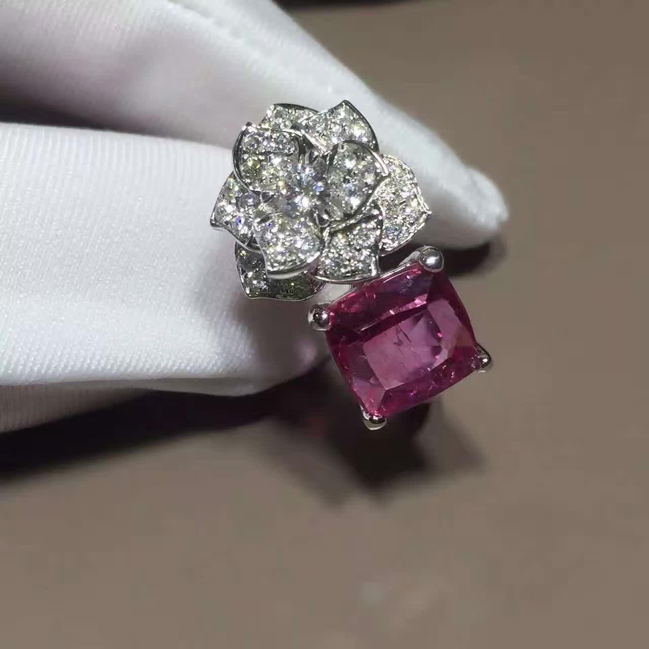 Quality 18K White Gold Piaget Rose Flower Ring G34UU600 With Cushion - Cut Pink Tourmaline for sale
