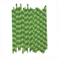 China Natural Green Decorative Paper Straws Bamboo Designed For Birthday Party on sale