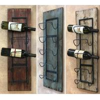 Quality wine rack wall wood 5 bottle holder with metal home decor for sale
