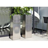 China Mirror Polished Stainless Steel Garden Containers , Stainless Steel Plant Pots on sale