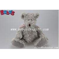 China Grey Plush Teddy Bear With Big Tummy and Pink Ribbon on sale