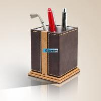 Quality PU Pocket Square Craft Single Pen Holder With Customized Logo 95*95*110mm for sale
