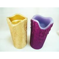 Quality Smokeless Wax Flameless LED Candles for Wedding, Gold / Purple for sale