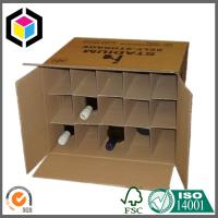Buy cheap Double Wall Kraft Wine Packaging Box; Black Logo Print Corrugated Box with Dividers from wholesalers