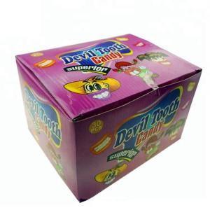 China Novelty Design Fresh Fruit Lollipops Devil Tooth Shape Interesting Pattern on sale