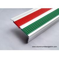 China 2.5m Length Aluminum Stair Tread Nosing With 2 PVC Vinyl Insert Red And Green on sale