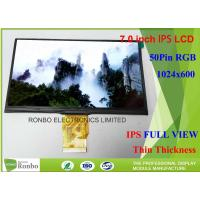 Quality 7.0 Inch Tablet LCD Screen 50pin RGB Resolution 1024 * 600 IPS LCD Display for sale