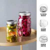 Quality Storage quick despatch germfree juice drinking color stocked sealable embossed logo printing 500ml custom glass jar for sale