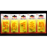 Quality Number Birthday Candles 0-9 Yellow Candle  with Orange color Stripe Painting for sale