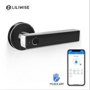 China Smart Biometric Thumbprint Room Door Locks / Electronic Front Black Door Handle Lock on sale