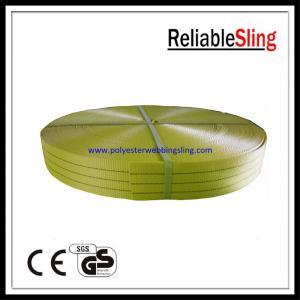 China Width 75mm - 90mm Flat Eye Sling Polyester Webbing rolls 3Ton Yellow Green on sale