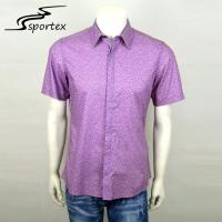 Buy cheap Plaid Printed Short Sleeve Mens Fishing Shirts Purple Color Cotton Materials from wholesalers