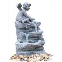 Angel On Rock Waterfall Resin Garden Fountains with LED Light Anchor Falls Cascading