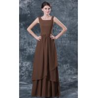 China Square Neckline Chiffon Ruffle Dark Brown Mother Of The Bride Dresses Online Discount Shop on sale