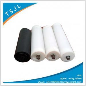 China Hdpe coated idler roller conveyor for power belt conveyor bulk material handling on sale