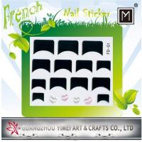 Quality Flower and Heart Design French Nail Stickers, nail tip Decal with Black and Pink for sale