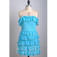 Quality Wholesale Black/blue strapless cotton short dress prom dress with polka dot for sale