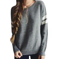 Quality Trendy Crew Neck Long Sleeve Sweater , Knit Strips Boyfriend Pullover Sweaters for sale