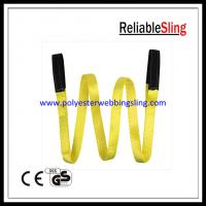 1 Ton - 25 Ton Flat eye polyester lifting slings , double ply duplex webbing sling