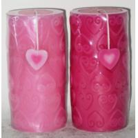 Quality Jasmine / lavender scented pillar candles with heart carving for sale