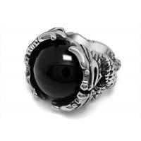 China Vintage 316l Stainless Steel Rings , Red / Black Agate Stone Ring With Corrosion Resistance on sale