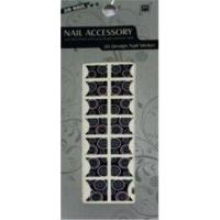 Quality Customized No Smelly Removable Black French Nail Stickers Art With Metal / Glass for sale