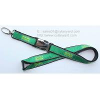 Quality Luxurious embroidered logo label applique lanyards, jacquard label overlaid lanyards, for sale