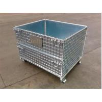 Quality Space Saving Warehouse Equipments Wire Container Storage Cages With Blue Plastic Board for sale