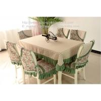 Quality Heavy duty 78 inch oblong floral fabric tablecloths and quilt stitching chair covers, for sale