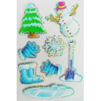 Quality Winter snowman Fancy Custom Holographic Stickers For Book / windows / cars for sale