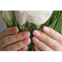 Quality Pink Nail Art Glitter Fake Nails , Salon French ABS Press-On Nails for sale