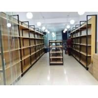 Quality Metal Frame Wood Board Light Duty Shelving / Display Racks For Grocery Stores for sale