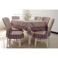 Quality Custom cheap pastoral cotton tablecloth with plaid border and chair cover set, for sale