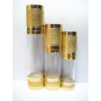 Quality empty 15ml 30ml 50ml gold saltation cosmetic  airless bottle with aluminum lid for sale