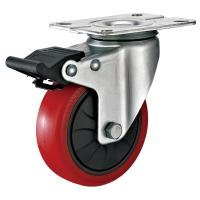 Buy 4 Inches Polyurethane PU Caster Wheel With Total Locking Brakes Color Optional at wholesale prices