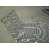 Quality 50mm * 50mm Wire Mesh Containers 4 Wheels Folding Wire Containers With Pulls for sale