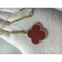 Quality LongVan Cleef Arpels 18K Gold Necklace With Red Flower Shape No Diamond for sale
