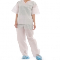 Quality Antibacterial 45g/M2 SMS Medical Disposable Protective Suit for sale