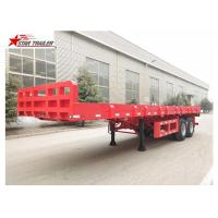 Quality 9.5 Meters 2 Axles Long Flatbed Trailer , Semi Truck Lightweight Flatbed Trailer for sale