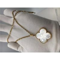Quality Long 18k Yellow Gold Vintage Alhambra Necklace Flower Shape Without Diamond for sale