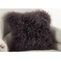 Dark Gray Fuzzy Throw Pillows , Soft Curly Hair Wool Decorative Bed Pillows