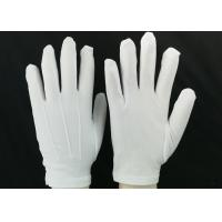 Quality Bleached White Lint Free Gloves 23g / Pair Weight 100D Yarn Good Moisture Absorbency for sale