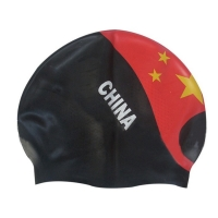 Buy Chinese Flag Pattern Watertight Swim Cap Personalised Swimming Hat at wholesale prices