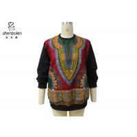 Pink Color Round Neck African Print Tops Long Sleeve For Spring / Autumn