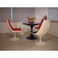 Quality Replica White Color Bar Stool Table And Chairs Full Fiberglass Swivel Base Tulip Shape for sale