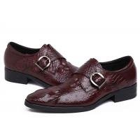 Quality Autumn Leather Monk Strap Dress Shoe , Wine Red Mens Leather Slip On Dress Shoes for sale