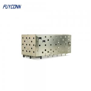 Quality Modular 80pin 2*2 4 Port Press Fit Transceiver SFP Cage Connector for sale